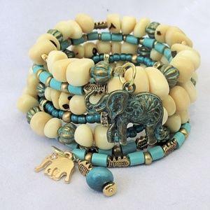 Tagua Nut Multistrand Elephant Charm Bracelet